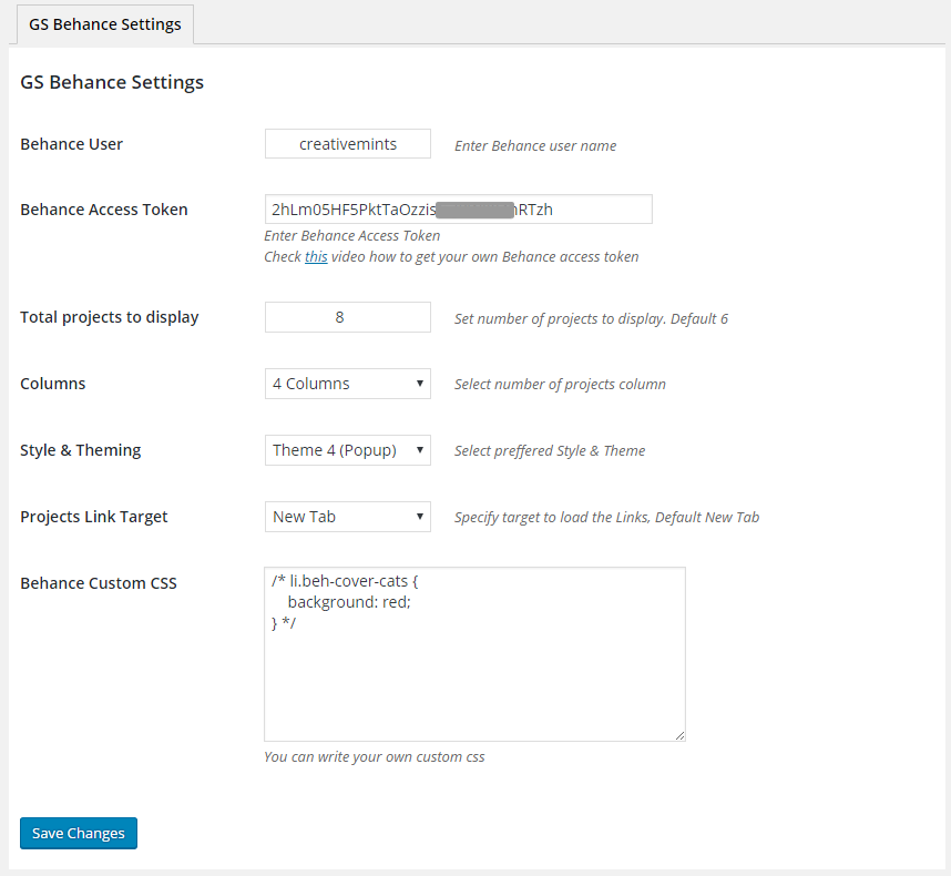 Behance Settings GS Behance Portfolio